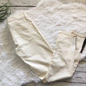 Banana Republic off white skinny ankle zip pants